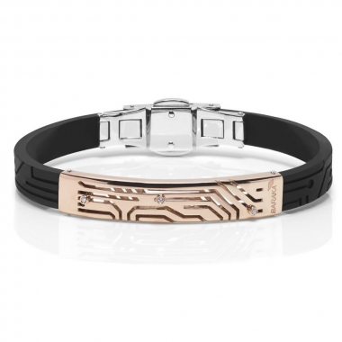 Rubber bracelet with pink gold and diamonds