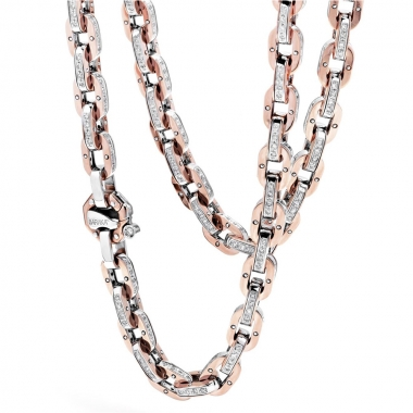 White and rose gold chain with ct 2,94 diamonds