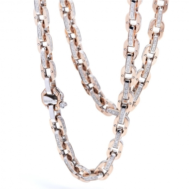 White and rose gold chain with diamonds