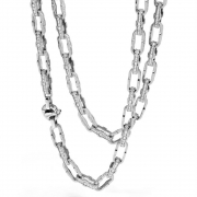 A chain of links in white gold with diamonds