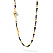 A chain of links of yellow gold and black ceramic