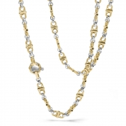A chain of links in yellow and white gold