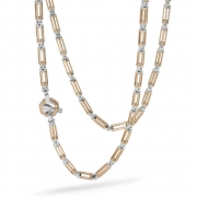 A chain of links in pink and white gold