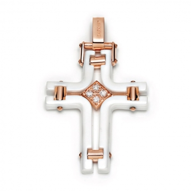 White ceramic cross with gold and diamonds