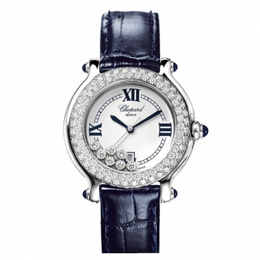 Women's watches in white gold and steel with diamonds on a blue leather strap