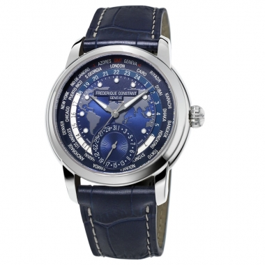 Men's steel watch with world time on the alligator strap