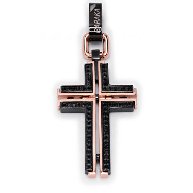 Cross of pink gold with black diamonds